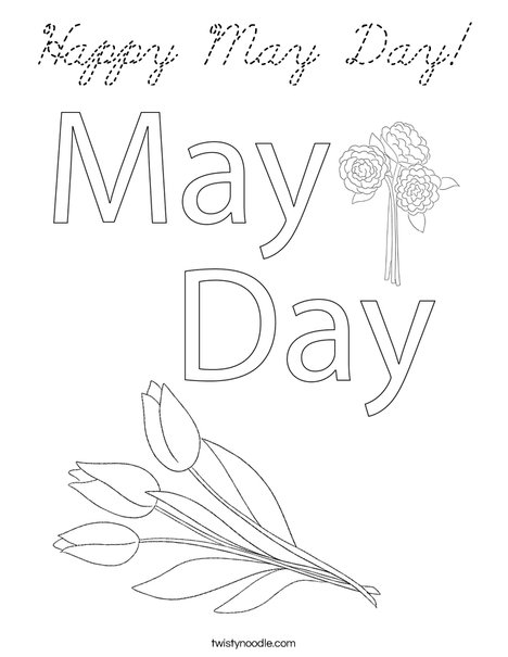 May Day with Cake Coloring Page