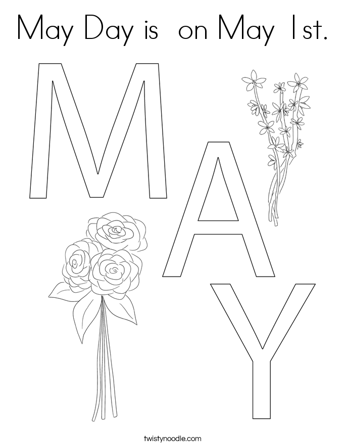 May Day is  on May 1st. Coloring Page