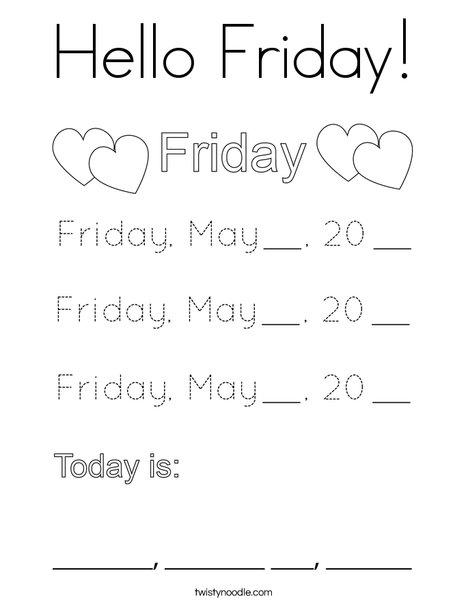 May- Hello Friday Coloring Page