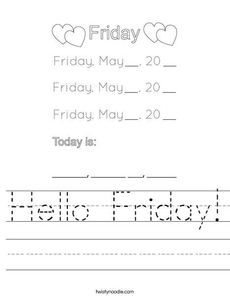 May- Hello Friday Worksheet