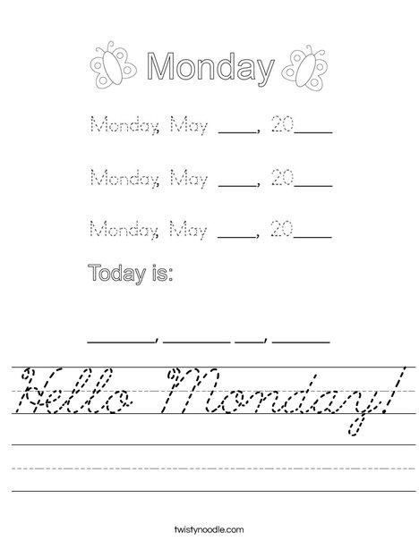 May- Hello Monday Worksheet