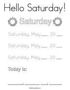 Hello Saturday Coloring Page
