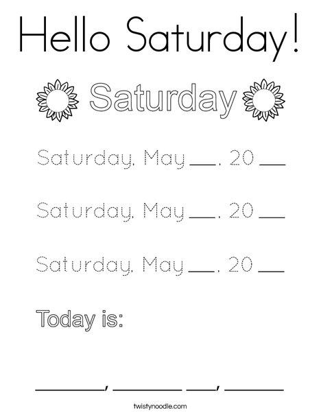May- Hello Saturday Coloring Page