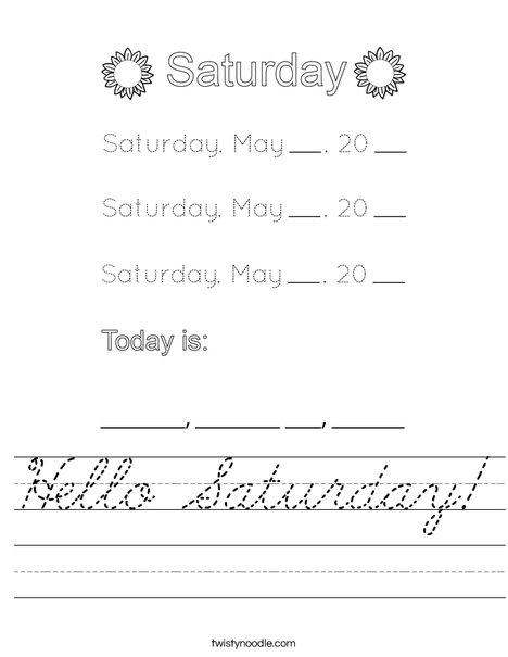 May- Hello Saturday Worksheet
