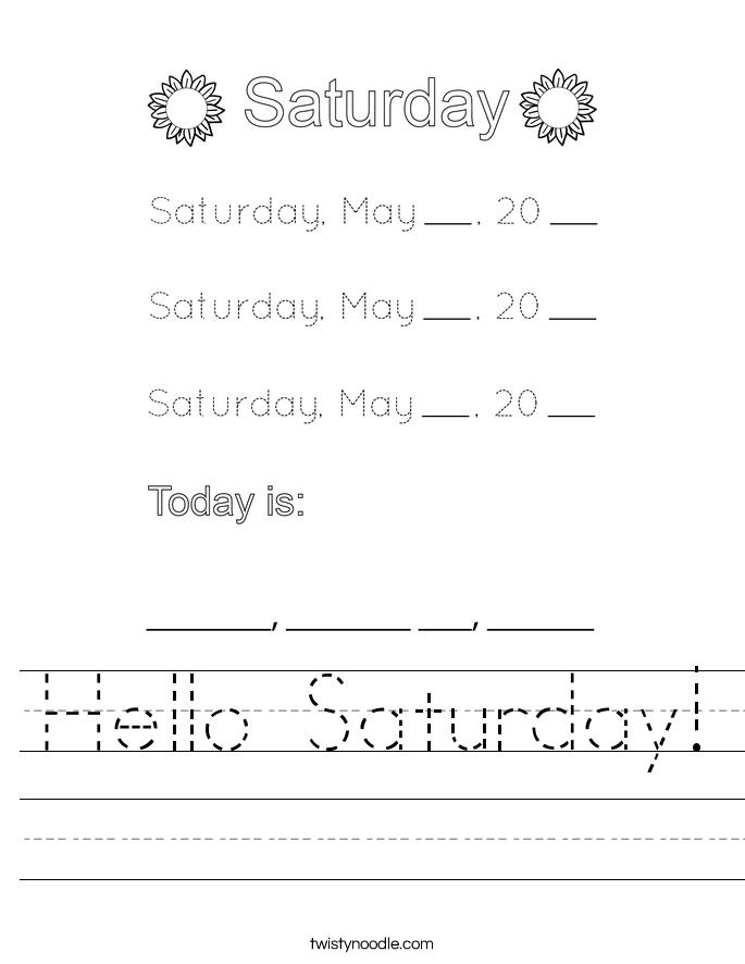 Hello Saturday! Worksheet
