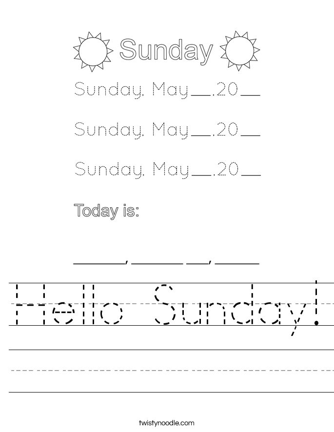 Hello Sunday! Worksheet