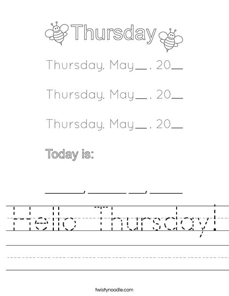 May- Hello Thursday Worksheet