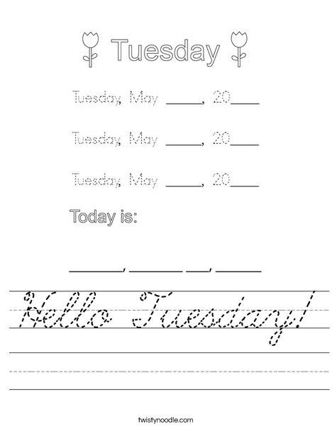 May- Hello Tuesday Worksheet