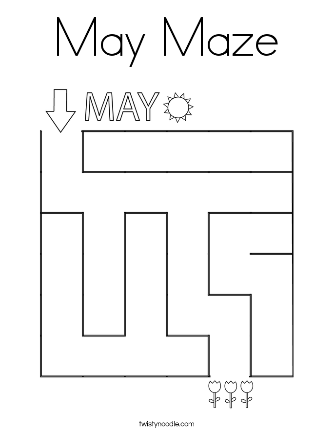 May Maze Coloring Page