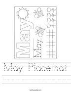 May Placemat Handwriting Sheet