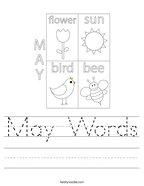 May Words Handwriting Sheet