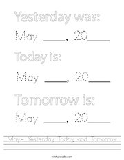 May- Yesterday, Today, and Tomorrow Handwriting Sheet