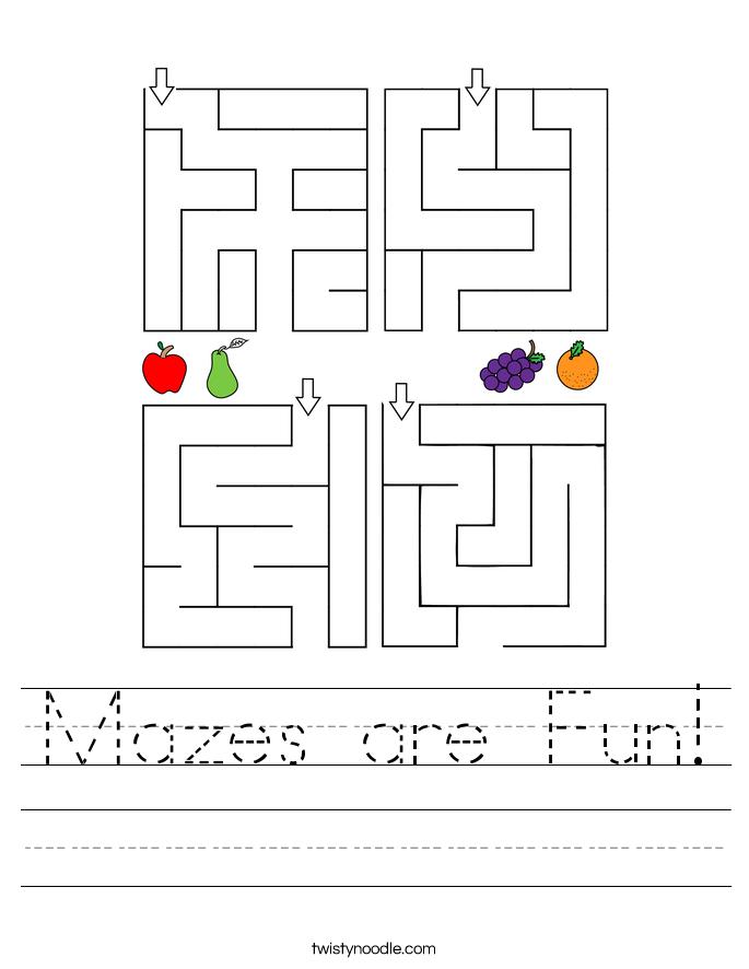 Mazes are Fun! Worksheet