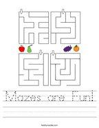 Mazes are Fun Handwriting Sheet