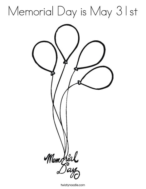 Memorial Day Balloons Coloring Page