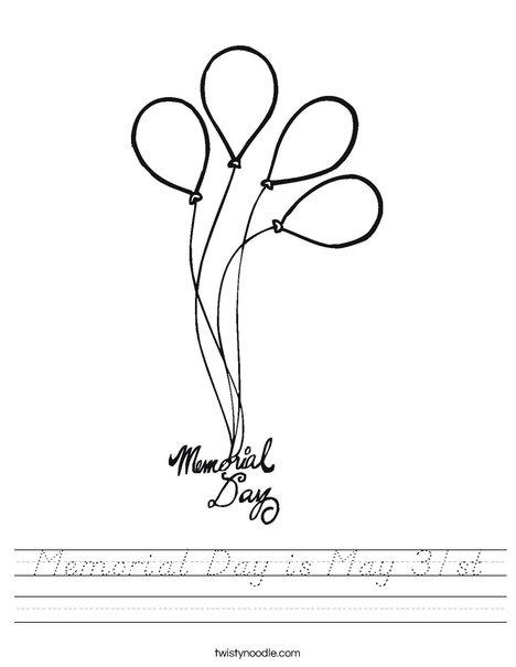 Memorial Day Balloons Worksheet