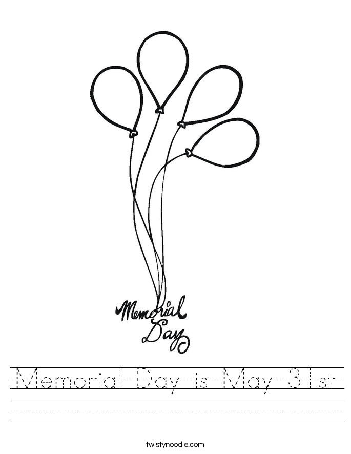 Memorial Day is May 31st Worksheet