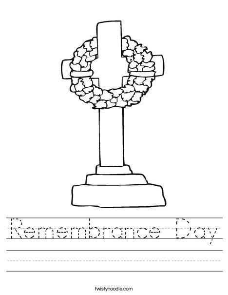 Memorial Day Cross Worksheet