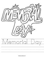 Memorial Day Handwriting Sheet
