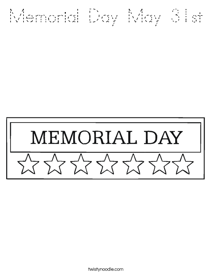 Memorial Day May 31st Coloring Page Tracing Twisty Noodle