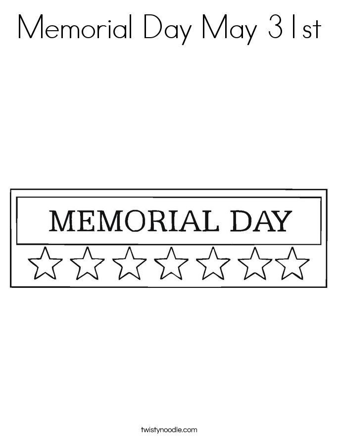 Memorial Day May 31st Coloring Page