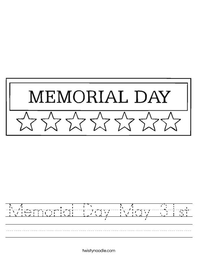 Memorial Day May 31st Worksheet