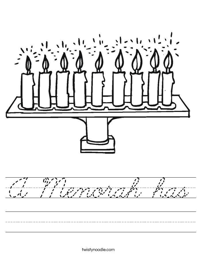 A Menorah has Worksheet - Cursive - Twisty Noodle