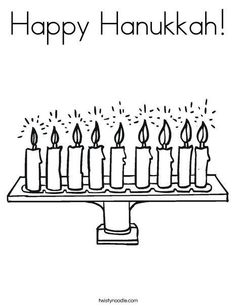 Happy Hanukkah Coloring Page Twisty Noodle