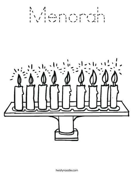Menorah with lit candles Coloring Page