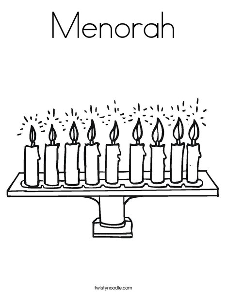 Menorah Coloring Page Twisty Noodle