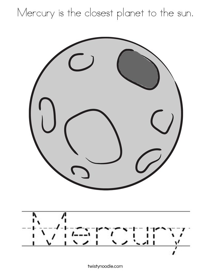 Mercury is the closest planet to the sun. Coloring Page