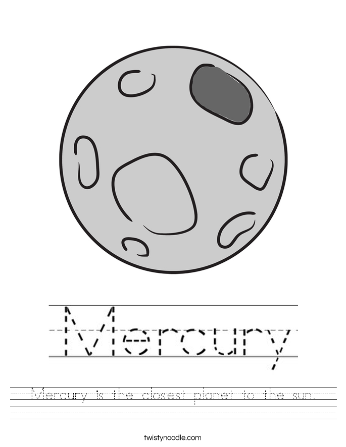 Mercury is the closest planet to the sun Worksheet Twisty Noodle – Planet Worksheet