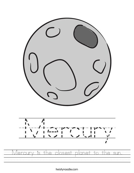Mercury is the closest planet to the sun. Worksheet