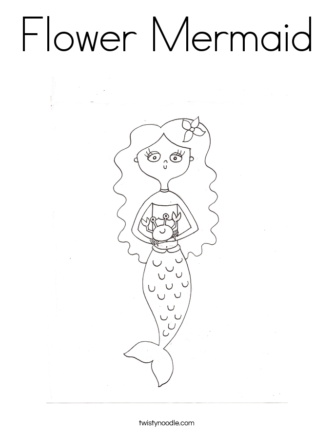 Flower Mermaid Coloring Page