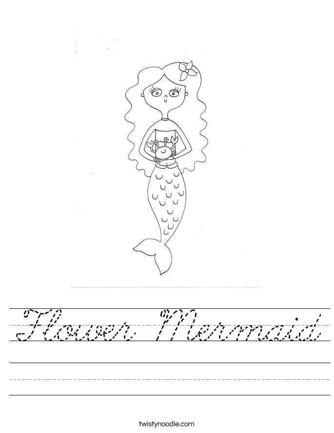 Flower Mermaid Worksheet