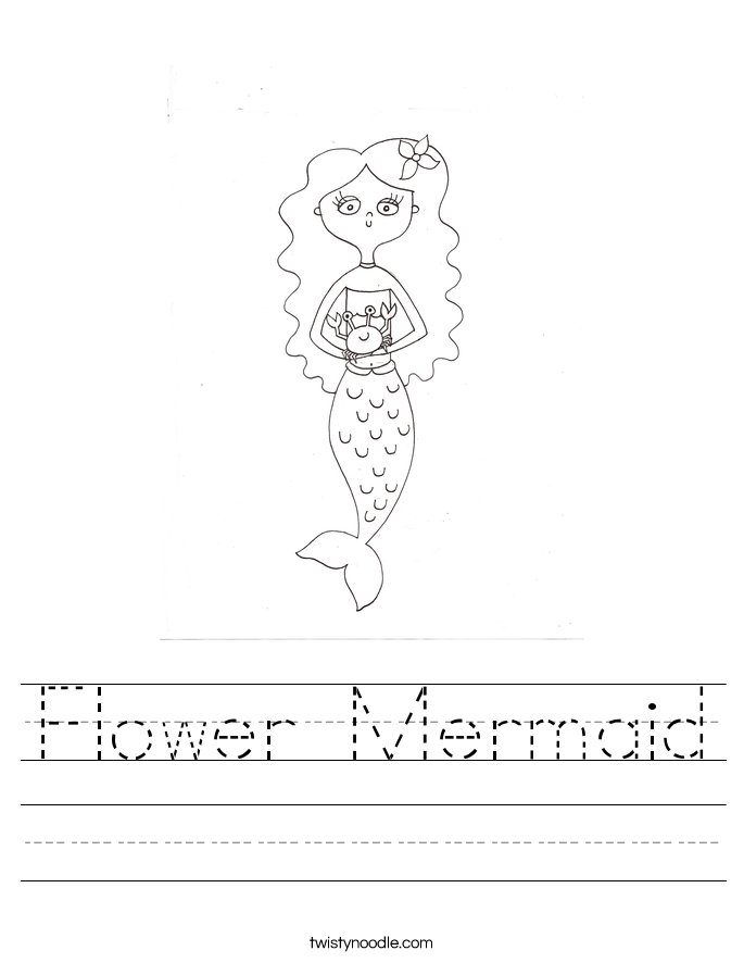 Flower Mermaid Worksheet