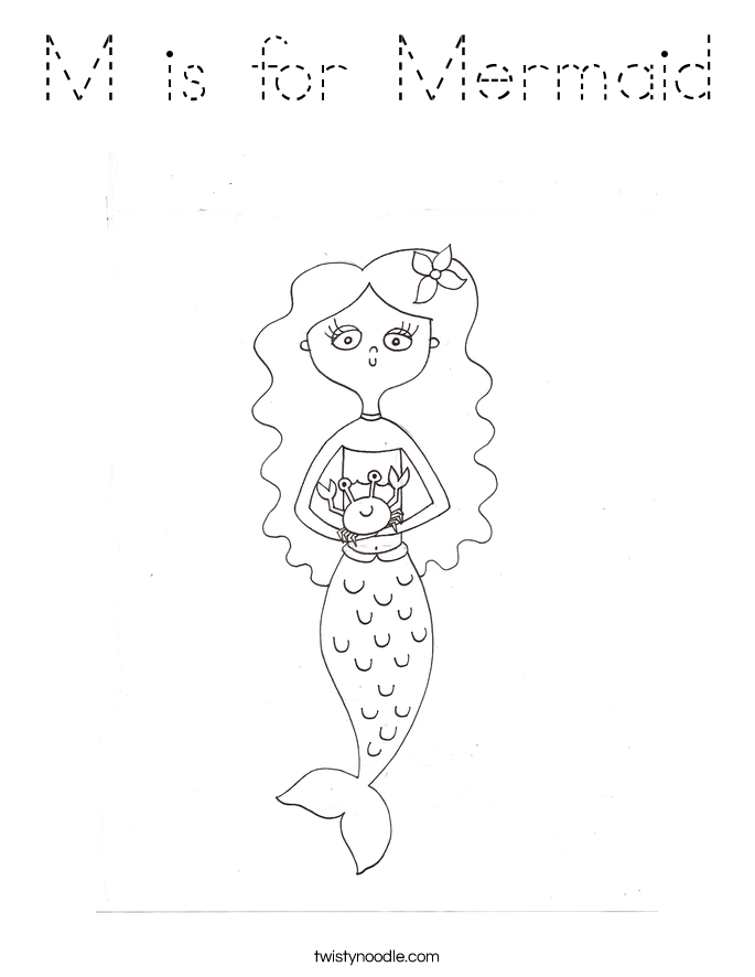 M is for Mermaid Coloring Page