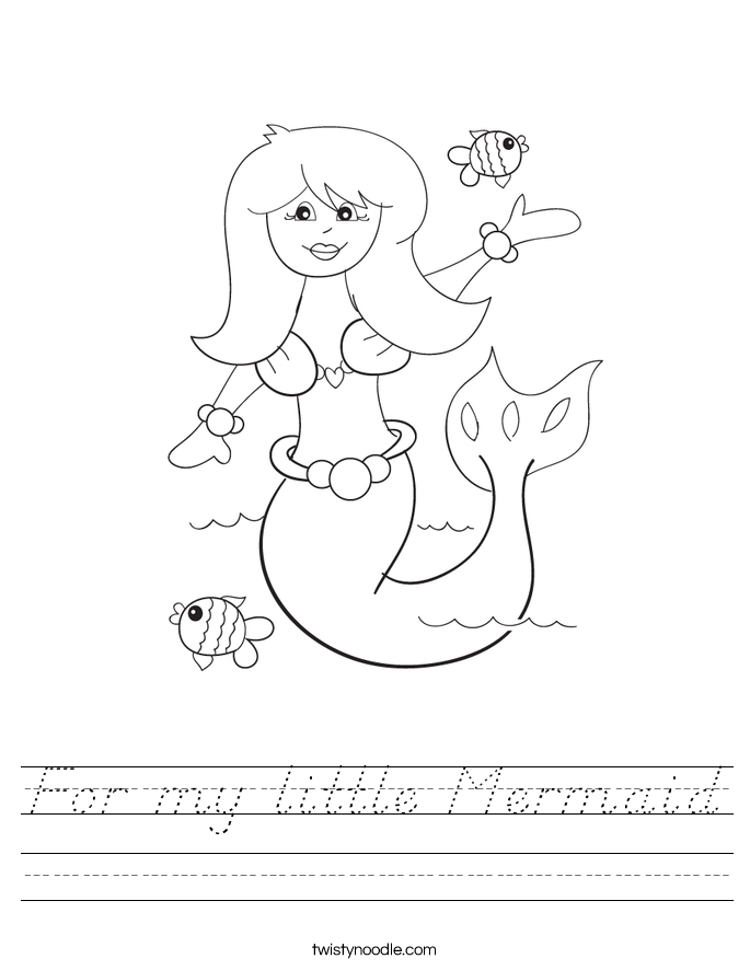 For my little Mermaid Worksheet