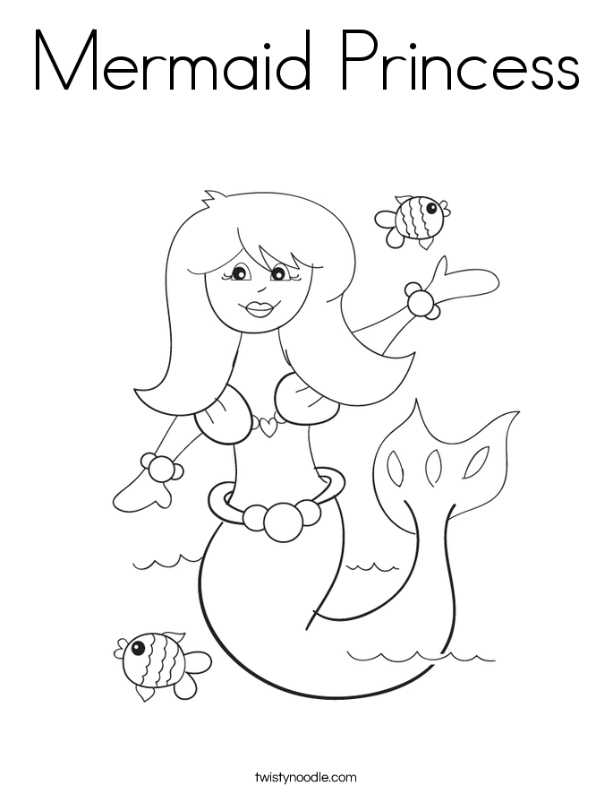 Mermaid Princess Coloring Page Twisty Noodle Mermaid Princess Coloring Page Free Coloring Sheets
