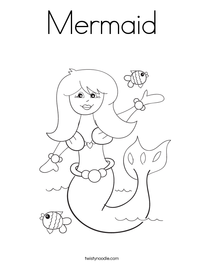 mermaid coloring page twisty noodle