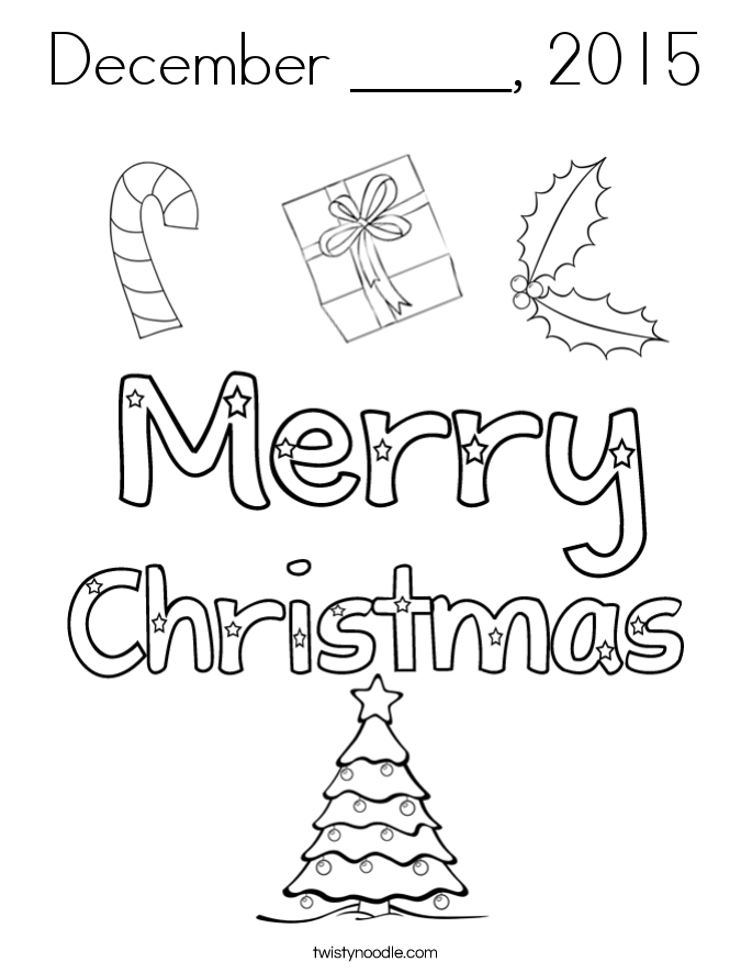 December _____, 2015 Coloring Page