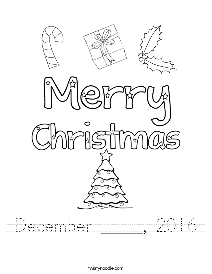 December _____, 2016 Worksheet