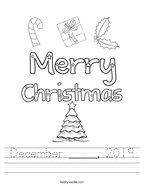 December _____, 2019 Handwriting Sheet