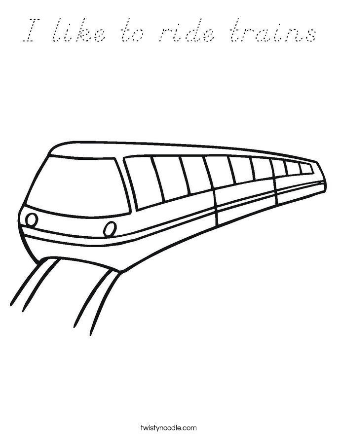 I like to ride trains Coloring Page