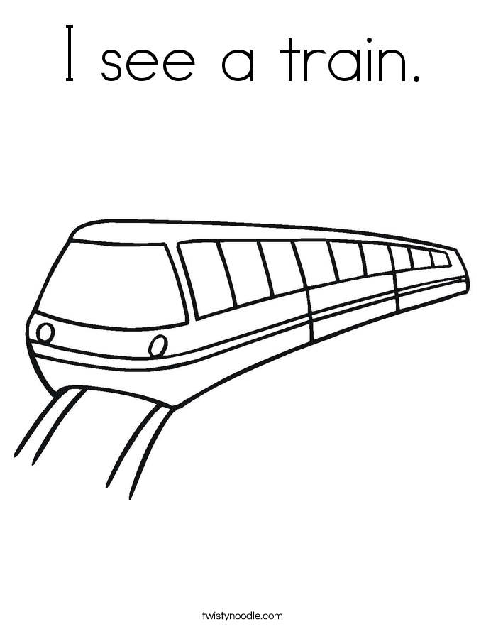I see a train. Coloring Page