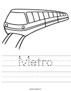 Metro Handwriting Sheet