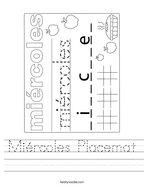 Miércoles Placemat Handwriting Sheet
