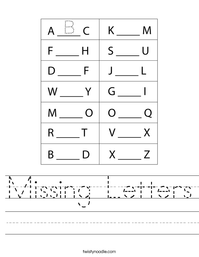 Missing Letters Worksheet