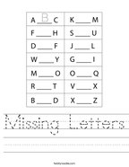 Missing Letters Handwriting Sheet