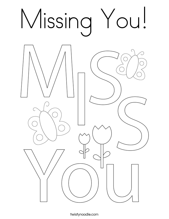 Missing You! Coloring Page